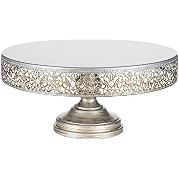 victoria collection antique silver 14 inch metal cake stand round wedding birthday dessert cupcake pedestal