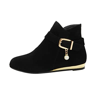 Womens Black Faux Leather Ankle Boots ...