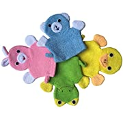 Cute Baby Kids Bath Sponge / Mitt / Glove Set of 4 Cartoon Rabbit/Frog/Duck/Bear