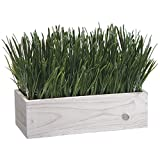House of Silk Flowers Artificial Farm Grass in White-Washed Wood Trough Planter