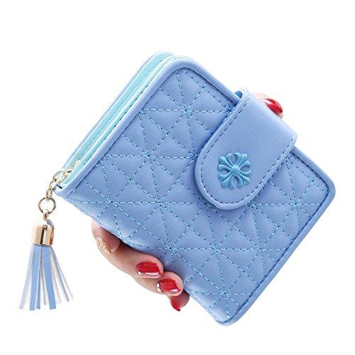 Woolala Damen Elegantees Argyle Taschen Mappen Karten Bargeld Änderungs Halter Mit Troddel Anhänger Für Geburtstag / Feiertags Geschenk, Grün Blau