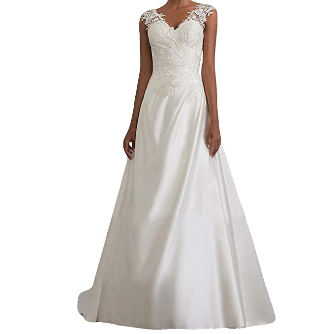 3367d72d775 Women s Elegant Lace White V-Neck Open Back Sleeveless Princess Wedding  Maxi Dresses