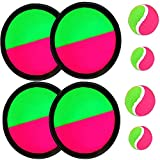 Paddle Catch Ball and Toss Game Set Disc Toss and Catch Paddle Sport Game(4 Paddles and 4 Balls)