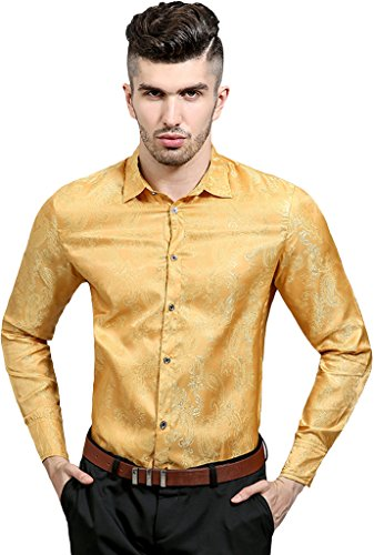 Whatlees Mens Casual Long Sleeve Slim Fit Button Down Dress Shirt Paisley Embrodiery Silk Luxury ...