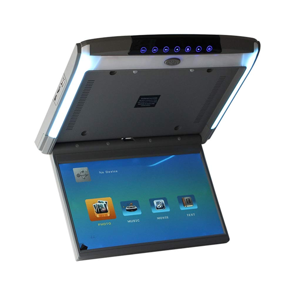 13 pulgadas de coche Flip Down monitor HDMI 1080P HD TFT LCD techo montaje monitor ultra delgada arriba reproductor de v/ídeo para coche SD MP3 MP5 LED con IPS USB TF FM IR,Gray