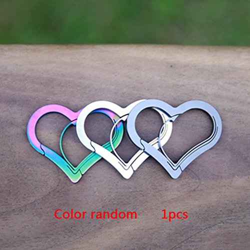 DAVEVY Climbing Buckle,Heart Shaped Stainless Steel Carabiner Hanging Outdoor Mountaineering High Strength Climbing Buckle Durable Color -