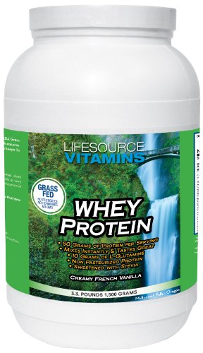 (LifeSource Vitamins 3.3 lb Grass Fed Whey Protein Isolate -Creamy French Vanilla w/ Stevia)