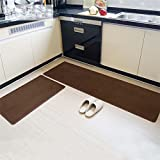 MAXYOYO Japanese Style Short Velvet Carpet Runner Rug 2 Pieces Set, Ultra Soft Velvet Kitchen Bathroom Anti-slip Area Rug, Entrance Floor Mat Set 31x20 In + 63x20 In