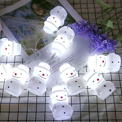 (Clearance!!! Glumes 10 LED 3.2FT Cute Snowman String Lights Battery Operated, Fairy String Light Waterproof for Home Christmas Tree Party Xmas Holiday Holiday New Year Garden Decoration)