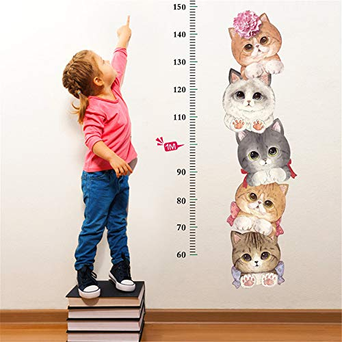 Pumsun Baby Growth Chart Height Sticker for Kids DIY Height Wall Ruler with Cute Cat (As Shown) -