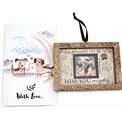 Pawprint Memorial Ornament with Rainbow Bridge Pet Memorial Card Pet Loss Gift Set