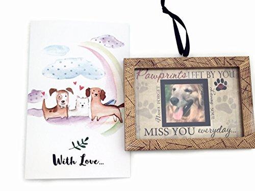 Pawprint Memorial Ornament with Rainbow Bridge Pet Memorial Card Pet Loss Gift Set (Tag Dog Chime Wind)