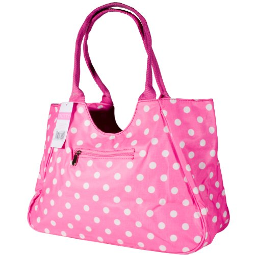 Dotty Designer Matt Finish Oilcloth Large Shopping Bag in Pink With White Dots