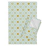 Roostery Mint Gold Aztec Tribal Kilim Diamond Southwest Tea Towels Mint Gold Aztec by Mrshervi Set of 2 Linen Cotton Tea Towels