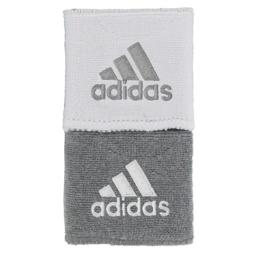 Adidas Interval Reversible Wristband, Heathered Aluminum 2/White / White/Heathered Aluminum 2, One Size Fits All
