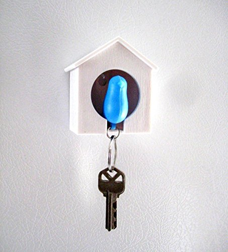 (AKOAK White Mini Birdhouse and Blue Bird Keychain,Bird is a Safety Whistle)