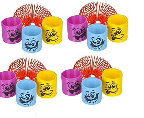 (50) Assorted Colorful 1.38'' Silly Face Springs (Slinkies) ~ Miniature Fun Party Favors ~ Easter Goody Bag ~ Party Gifts ~ Teacher Classroom ~ Stocking Stuffer ~ Toy by (Party Miniature)