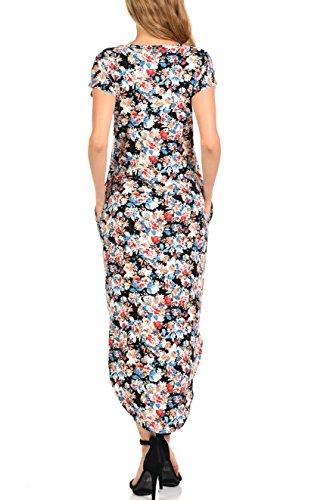 Robe Maxi Bluensquare Pour Les Femmes Avec Des Poches De Plage Col Rond Robes Longues Fleurs