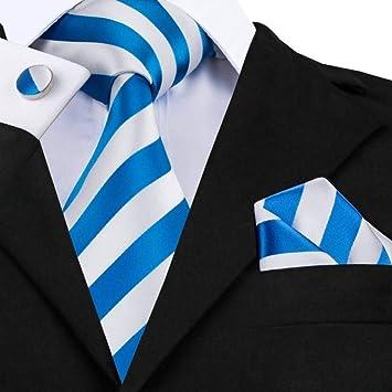 WOXHY Corbata de los Hombres Sn-415 Lazo a Rayas Blanco Azul ...