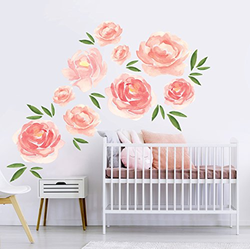 Better Than Paint E116374 Faster & Easier Than Stenciling, Painting Or Wallpaper: This is Not a Decal Watercolor Blooms Décor, Wall Art Transfer | Fast and Easy, Pink