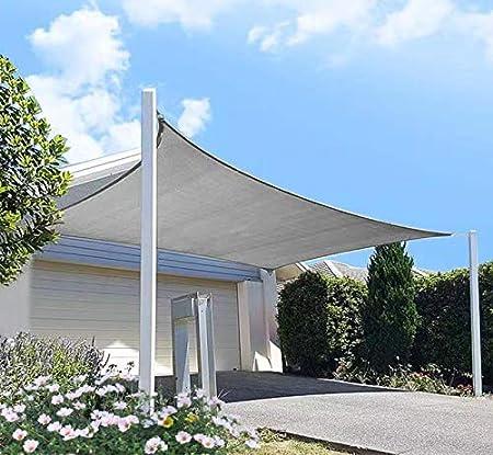 Amazon Com Diig Patio Sun Shade Sail Canopy 8 X 12 Rectangle Shade Cloth Block Sunshade Fabric Outdoor Cover Awning Shelter For Pergola Backyard Garden Yard Grey Color Garden Outdoor