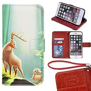 Caso Monedero iPhone 6S Funda [4.7 pulgadas], Twodee - Disney Cartoon Movie Bambi premium PU Case Funda carpeta del tirón del caso del soporte de la cubierta Funda para iPhone 6S con ranuras para tarjetas