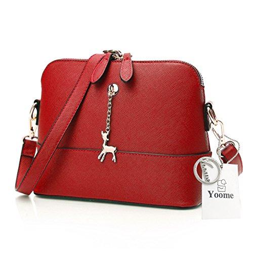 Yoome Cross Pattern Little Deer Anhänger Retro Makeup Tasche Tasche Medium Umhängetasche Leder - Rosa Rot