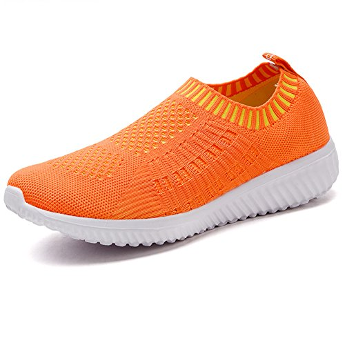 LANCROP Women's Slip Walking Breathable Lightweight 02 Sneakers Orange Mesh Athletic On Shoes p4rwaAxp
