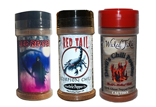 Ghost Pepper Powder Trinidad Moruga Scorpion Powder Carolina Reaper Chili Spice 3 Pack Gift