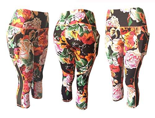 63b67d7401af1a NY GOLDEN FASHION Women Compression Yoga Pants Stretch Workout Fitness  Active Capri Leggings with 2 Pockets (L/XL, Multi Floral/Black Mix)