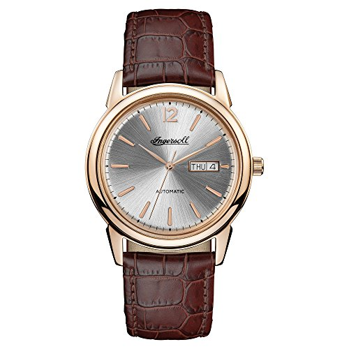 Ingersoll Men's Automatic Stainless Steel and Leather Casual Watch, Color:Brown (Model: I00503)