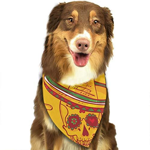 LJBpeT Latin Music Skull in Sombrero Day of The Dead Illustration Pet Dog Cat Bandanas Triangle Bibs Pet Scarf Dog Neckerchief Headkerchief Pet Accessories -