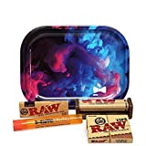 Bundle - 5 Items - Raw Classic 1 ¼ Rolling Papers, 79mm Roller, Pre-Rolled Tips with Hippie Butler Mini Rolling Tray (Color Swirl) and Hippie Butler Kewltube