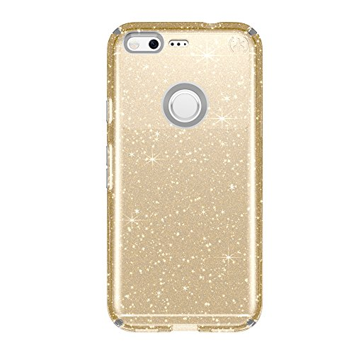 Speck Products Presidio Clear with Glitter Cell Phone Case for Google Pixel - Clear With Gold Glitter