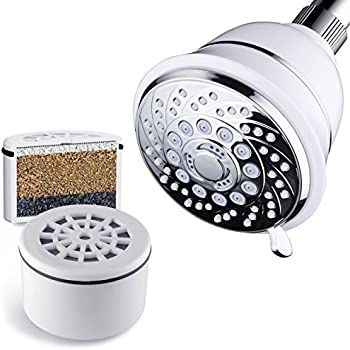 AquaCare By HotelSpa Filtered Shower Head 4 Inch Chrome Face 6 Setting Showerhead with 3 Stage Shower Filter Cartridge Inside. (Dual White/Chrome Finish)