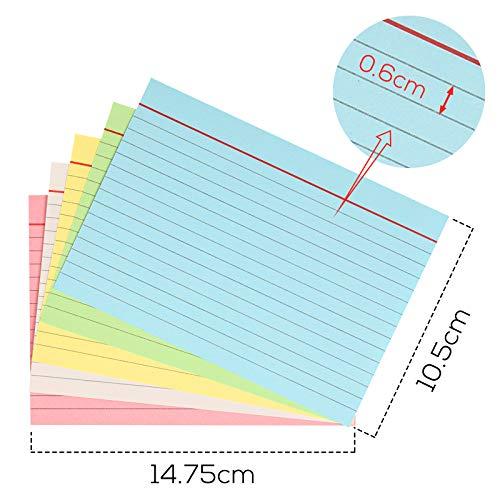 Koogel Karteikarte A6 liniert, 250 Stk. liniert Karteikarten in der praktischen Lernbox für Unterwegs Vokabel Lernen