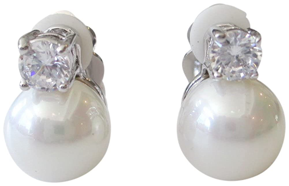 CZ by Kenneth Jay Lane Jarin K CZ and 10 mm Freshwater Cultured Pearl Stud Clip Earrings JE0063X WHCLSI
