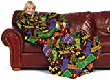 DC Comic Comfy Throw - Batman Logos Fleece Blanket with Sleeves