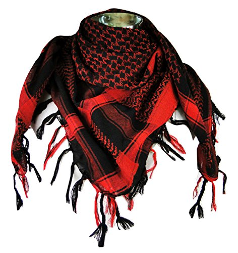 (Premium Shemagh Head Neck Scarf - Red/Black)