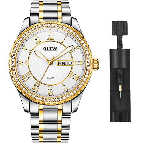 OLEVS Luxury Diamond White Silver Watches for Men on Sale, Calendar Water Resistace Luminous Stainless Steel Band Mens Watches, Gift for Father Son Business Casual Wristwatches Brand Watch New