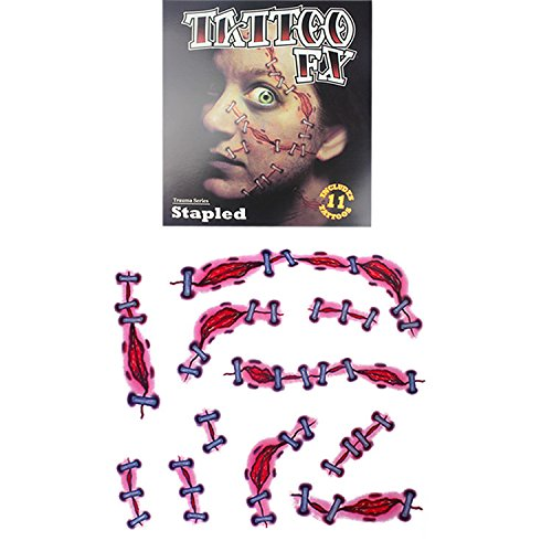 Temporary Trauma Series Stapled Scar Sticker, The Best Tattoo for Halloween|Masquerade|Cosplay Etc, Zombie Scars with Fake Scab Blood Costume Makeup Water Proof Face Paster Kit (Type (Best Type Of Makeup For Halloween)