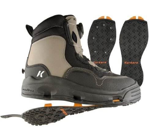 Korkers WhiteHorse Wading Boot with Kling-On and Studded Kling-On Outsoles, Timberwolf/Black, 7 by Korkers