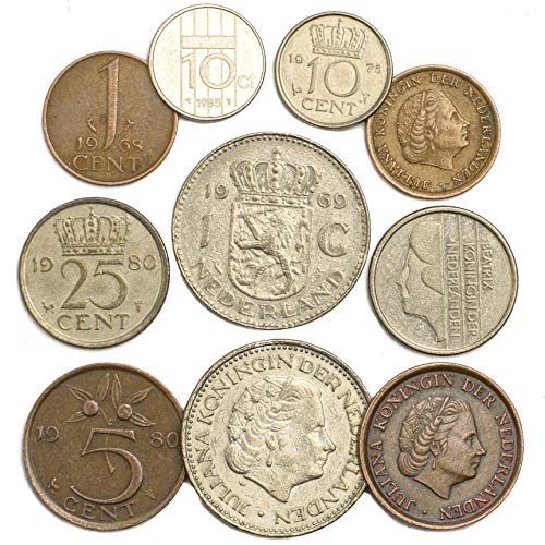 Netherlands 10 Coins Dutch Cents Gulden Period 1949-2001 Pre-Euro Currency
