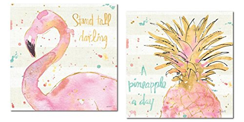 Tropical Hot Pink and Gold Watercolor Flamingo and Pineapple