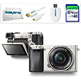 Sony Alpha a6000 ILCE6000 Interchangeable Lens Camera with 16-50mm Power Zoom Lens (Silver) + 64GB Accessory Starter Bundle - International Version