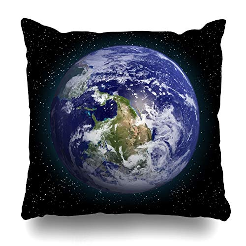 Ahawoso Throw Pillow Cover Geography Blue Globe Earth Space This Furnished Solar by NASA Green Galaxy Design Zippered Pillowcase Square Size 18 x 18 Inches Home Decor Cushion Case - Envelope Robe Red Cotton