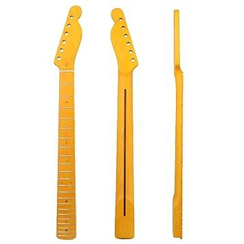 yibuy amarillo madera color mate color ámbar lacado pintura madera de arce 22 trastes mano derecha de 6 cuerdas Guitarra eléctrica cuello: Amazon.es: ...