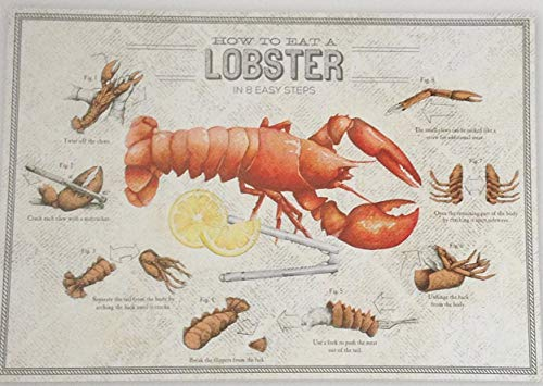 How to Eat A Lobster in 8 Easy Steps - Pad of 40 Disposable Placemats with 40 Coordinating Napkins