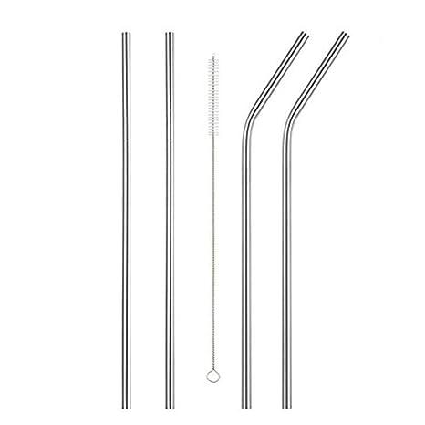 Amazon.com: 4 piezas larga pajitas de acero inoxidable 20 oz ...
