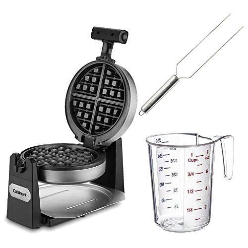 Cuisinart WAF-F10 Belgian Waffle Maker - Round + Waffle Fork + Measuring Cup (Cuisinart 6 Waffle Maker compare prices)
